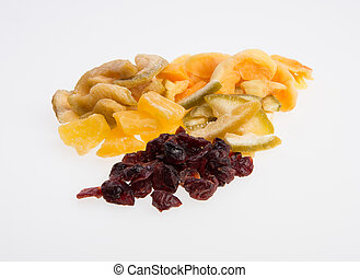 Dried fruits or assorted preserved fruits on background. -...