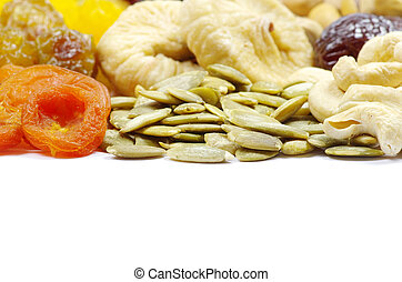 dried fruits  - assorted dried fruits isolated on white