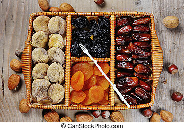 Dried fruits prunes dates apricots figs symbols of judaic...
