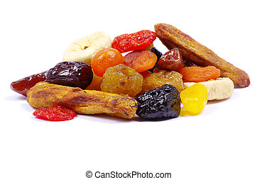 dried fruits  - mix dried fruits collection on white