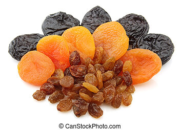 Dried fruits - Raisin, dried apricots, prunes on a white...