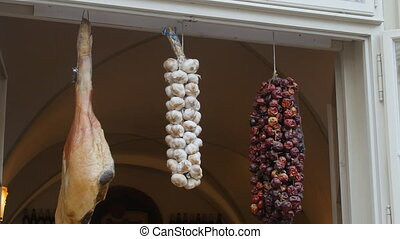 Dried garlic, pepper and jamon - Dried garlic and pepper...