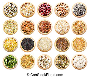 Dried grains, peas and rice collection.