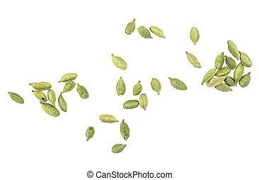Dried green cardamom seeds isolated on a white background, top view.