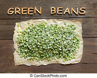 Dried Green Split Peas with a word