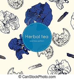 dried herbal thai tea , seamless pattern - dried herbal thai...