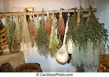 Dried Herbs - Dried herbs and gourds on rack in ancient...