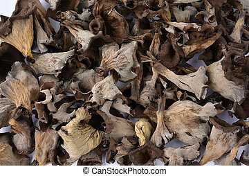 Dried Horn of Plenty musfrooms - Full frame of delicious...