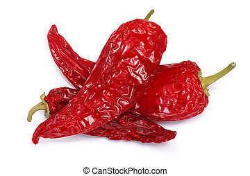 Dried Hot Wax or Paprika peppers, whole. Clipping paths, shadow separated, top view