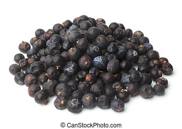 Dried juniper berries on white background