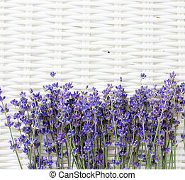 Lavender flowers on a white basket.