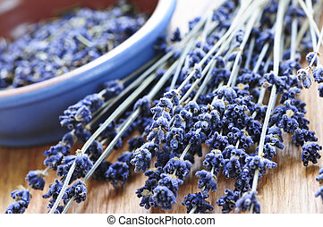 Dried lavender - Bunch of dried lavender herb and lavender...