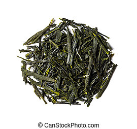 Dried leaves of green tea japanese sencha - Heap of dried...