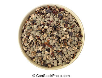 Dried Legumes Soup Mix in a bowl, close up.