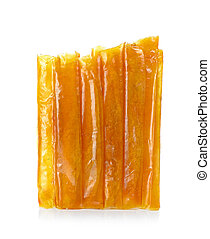 Dried mango isolated on the white background.