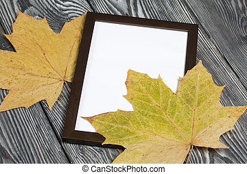 Dried maple leaves and photo frame. With a blank margin for the image. On brushed pine boards painted black and white.