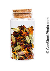 Dried Marigold flowers in a bottle with cork stopper for medical