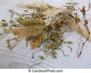 Dried Medicinal herbs, chamomile and linden