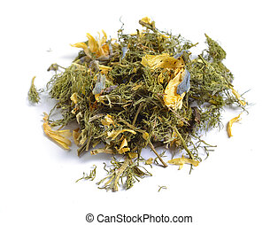 Dried medicinal herbs raw materials isolated on white....