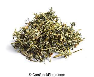 Dried medicinal herbs raw materials isolated on white. Viola...