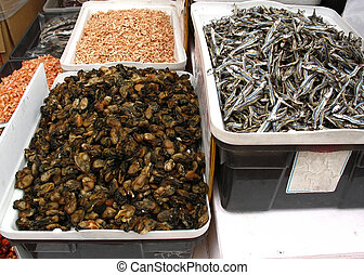 Dried mussels, dried fish and dried shrimp from Chinese market.