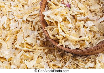 Dried onion - Food background: dried onion