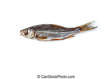 Dried or jerky salted roach, palatable clipfish isolated on ...