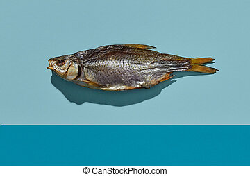 Dried or jerky salted roach, palatable clipfish on colorful ...