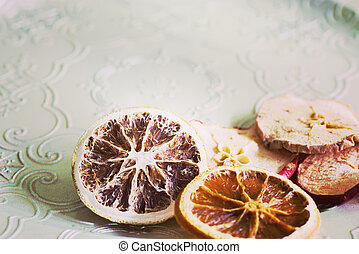 Dried orange and apple slices, retro toned