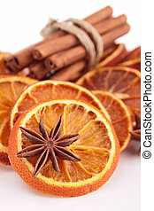 dried orange slice with cinnamon
