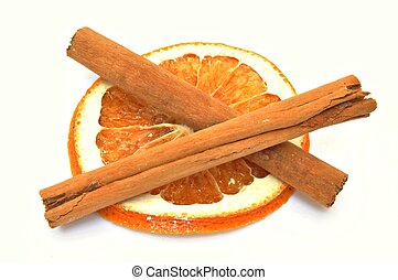 Dried orange slice with cinnamon