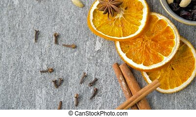 dried orange slices, anise, cinnamon and spices - christmas...