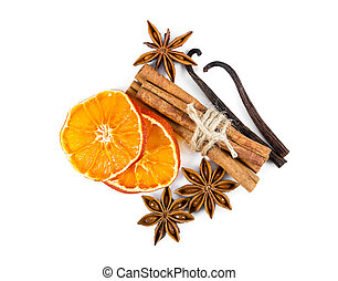 Dried orange slices, cinnamon, star anise and vanilla