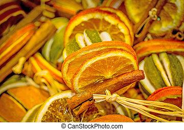 Dried orange slices for Christmas celebration
