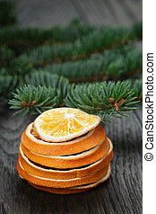 dried orange slices in stack