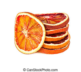 Dried orange slices isolated on white