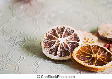 Dried orange slices, retro toned