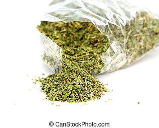 dried parsley on white background. - dried organic parsley ...