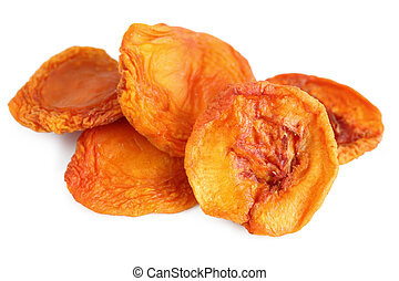 Dried Peaches - Stack of dried peaches over white background