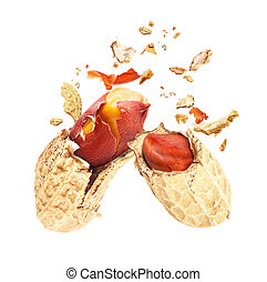 Dried peanuts, broken into two parts, isolated on a white background