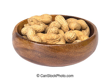Dried peanuts in wooden bowl isolated on white background