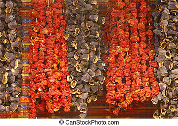dried pepper and eggplant hanging