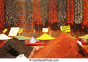 Dried pepper and eggplant hanging. Spices.