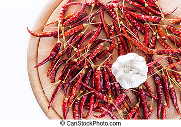 Dried peppers and garlic for cooking.