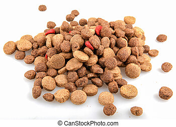 Dried pet food isolated on white