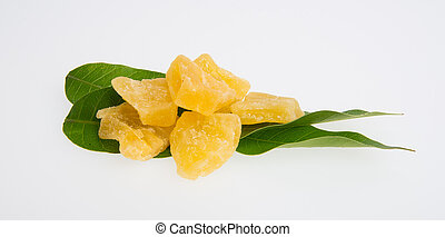 dried pineapple or dried fruits on a background. - dried...