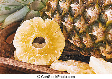 Dried pineapple rings - Dried and candied pineapple rings in...
