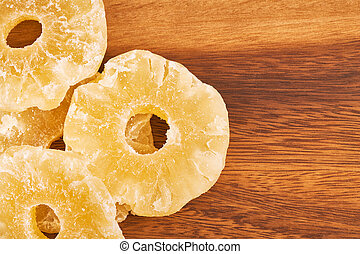 Dried pineapple rings - Dried and candied pineapple rings on...