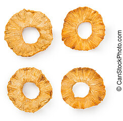 Dried Pineapple Rings isolated on white background - Portion...