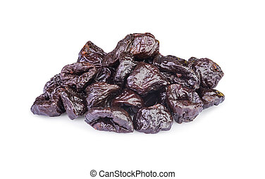 Dried pitted Prunes isolated on a white background